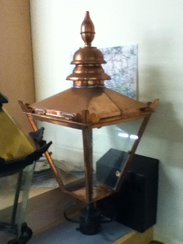 31 Inch High  Copper  Lamp Top, 8 Inch at Base  And 17 Inch at Top
