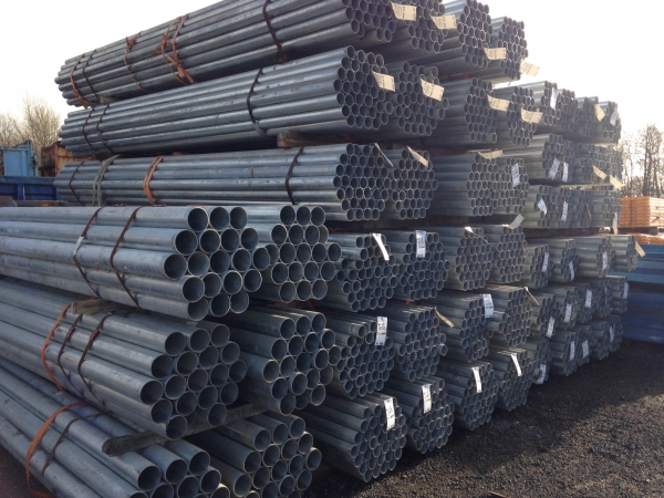 5.000 Mtr Lengths of 88.9 mm x  3 mm  Unused Galvanised Steel Tube Drainage - Water Pipe