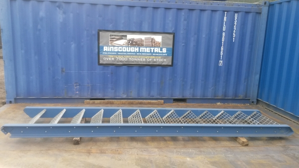 Blue With Galvanised Floor Forge Treads Used Mezzanine Steel Staircase 3.080 Mtr Total Rise High 790 mm Internal Width