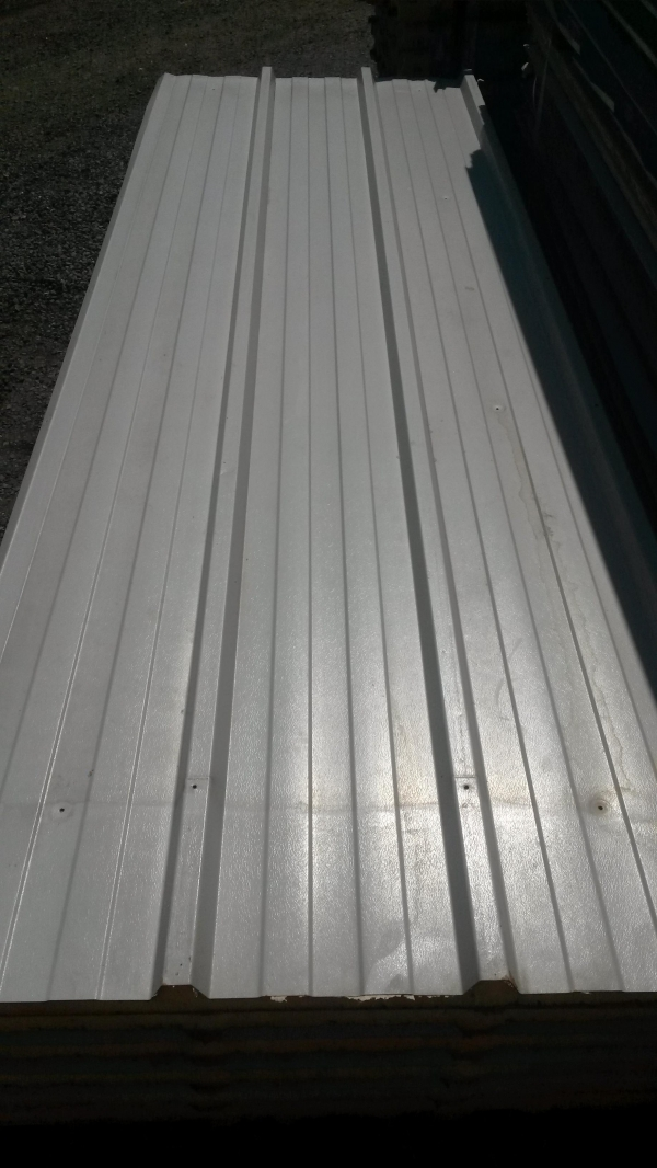 Used 2.700 Mtr x 1.000 Mtr Cover 80 mm Thick Light Grey  Insulated Box Profile Roofing Sheets