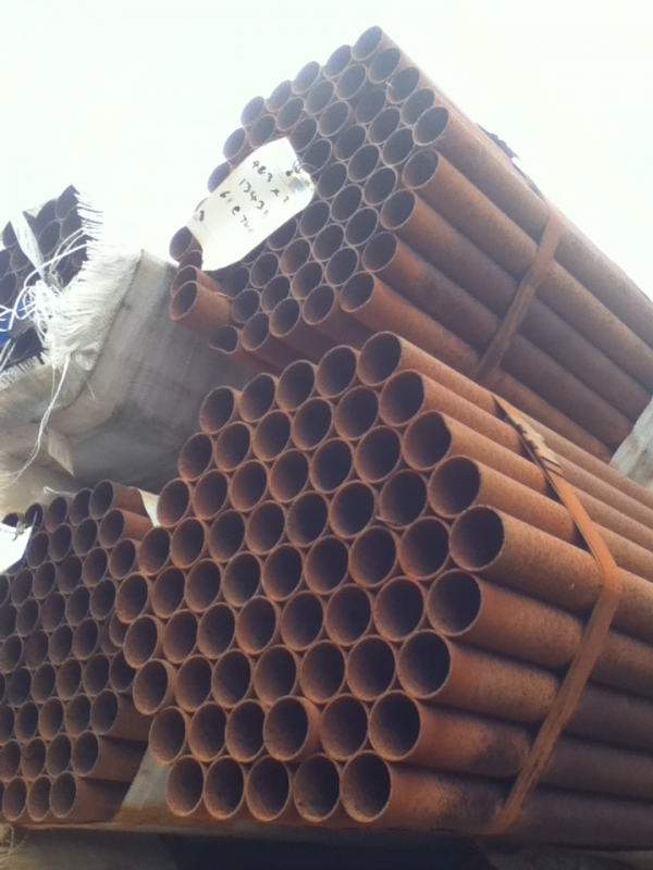 7.600 Mtr Lengths of 48.3mm x   2mm Unused Rusty Steel Tube - Chs Drainage - Water Pipe