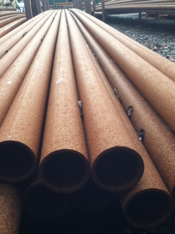 12.000 Mtr Lengths of 51mm x   3.2mm Unused Rusty Steel Tube - Chs Drainage - Water Pipe