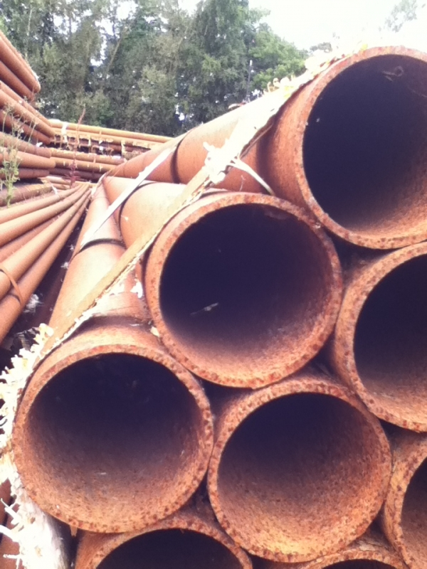 12.200 Mtr Lengths of 88.9mm x   4.0mm Unused Stock Rusty Steel Tube - Chs Drainage - Water Pipe