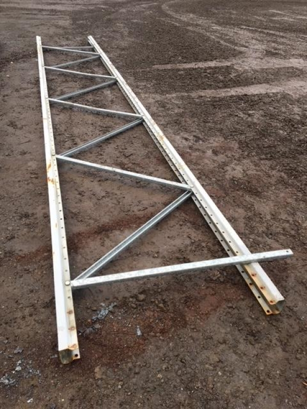 Used Planned Storage 5.600 Mtr Long x 900 mm Wide Steel/grey Upright Frames (no Feet) - Industrial Steel Racking - Shelving - Storage - Not Redirack, Dexion, Stakrak or Link 51