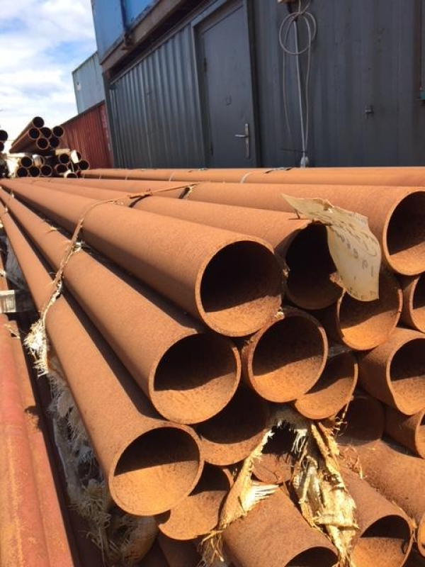 12.000 Mtrs Lengths of 168.3mm x  5mm  Unused  Stock Rusty Steel Tube - Chs - Steel Pipe Drainage - Water Pipe