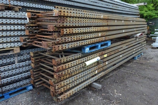Used Link 51 6.455 Mtr x 900 mm Grey Upright Frames - S/h Rusty - Racking Industrial Steel Racking - Shelving - Storage - Not Redirack, Dexion, Planned Storage, or Stakrak