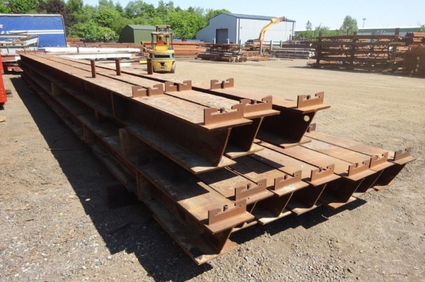 15.200 Mtr 305 mm x 305 mm x 137 Kg/m Steel Column - Universal Column - Second Hand, C/w Attachments, Holes & Cleats, Joined at 11.700 Mtr