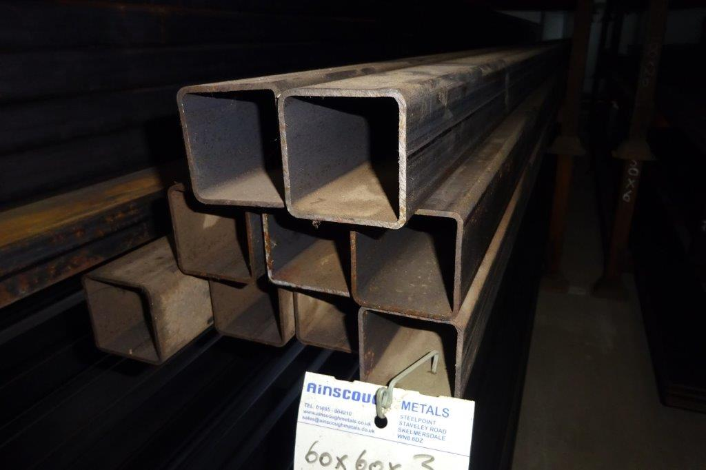 7.5 Mtrs 60 x 60 x 3 Mild Steel Box Section RHS