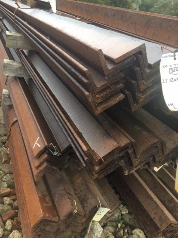 12.225mtr 100 mm x 65mm x 10mm Mild Steel Angle Iron  Unused Stock Rusty Unequal Angle Iron - Please Note These Need to be Cut Upto 8mtr For Transport