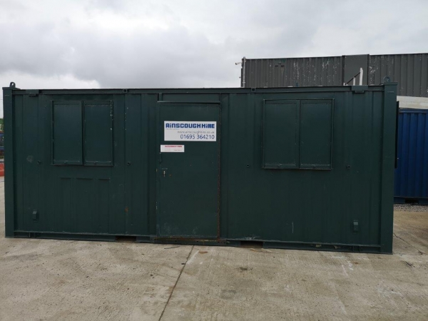 20 ft Long 8 ft Wide Dark Green Office / Canteen Cabin / Container / Welfare Unit - Second Hand - Store
