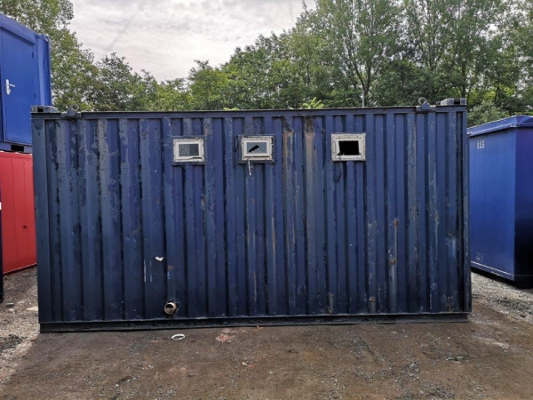 16ft Long 10ft Wide Blue Anti Vandal Toilet Block 2 + 1 / Drying Room / Store / Second Hand  - Toilet Block