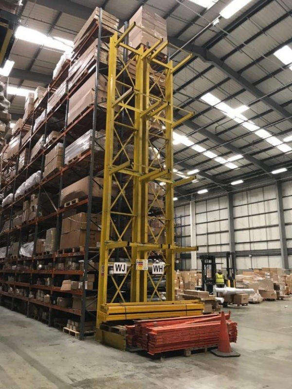 Yellow Cantilever Racking 9.300mtr High x 1.130mtr Wide / Storage Racking / Timber Storage Racking / Steel Storage Racking / Christmas Tree Racking - Used