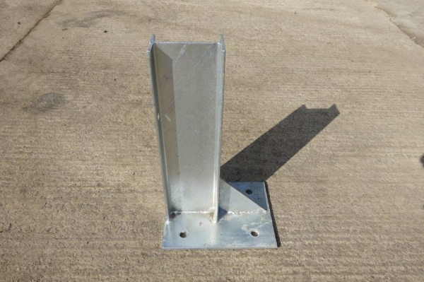 Used Galvanised Bolt Down 140 x 73 Ipe Approx Crash Barrier Post  560 mm High