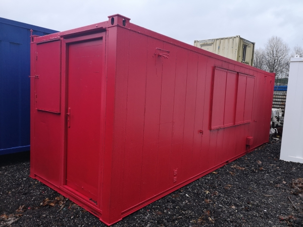 22.5 ft Long 7 ft Wide Red Portable Office / Workshop / Anti-vandal / Portacabin / Office / Canteen / Toilet / Welfare / Effluent Tank / Cabin Second Hand - Store