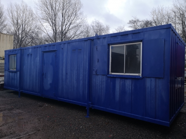 32ft Long 10ft Wide Blue Anti Vandal / Office / Canteen Cabin / Welfare / Portacabin - Fully Refurbished / Second Hand  - Store
