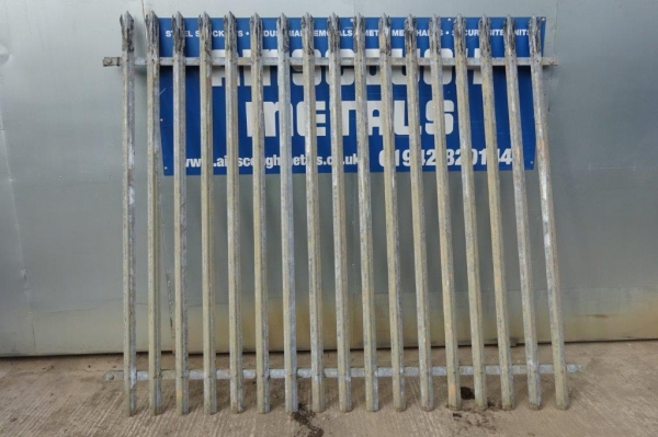 Fence Panels Second Hand 2.400 Mtr High 2.700 Mtr Wide Galvanised Palisade  \'d\' Triple Point Top C/w Post - School Railings - Park Railings- Security Fencing