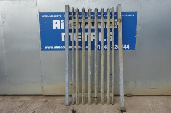 Second Hand 1.000mtr Wide  2.400mtr High Galvanised Palisade \'d\' Triple Point Top Steel Gate - Security Gate - Site Gate - Yard Gate