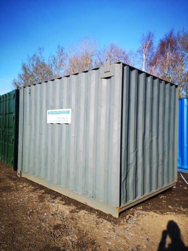12ft Long 8ft Wide Grey Steel Storage Container / Store - Refurbished  - Store