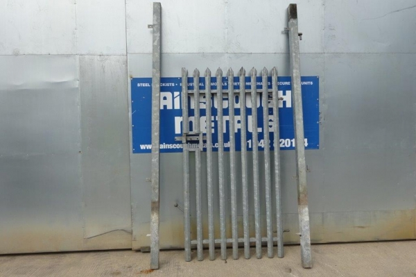 Second Hand 1.200mtr Wide  2.400mtr High Galvanised Palisade \'d\' Triple Point Top Steel Gate - Security Gate - Site Gate - Yard Gate
