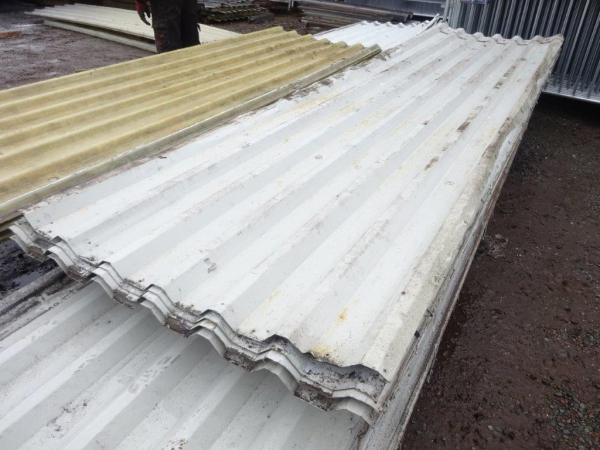 Second Hand 4.120mtr x 1.000 Mtr Cover  Pale Grey   Plastisol Coated Box Profile Roofing Sheets