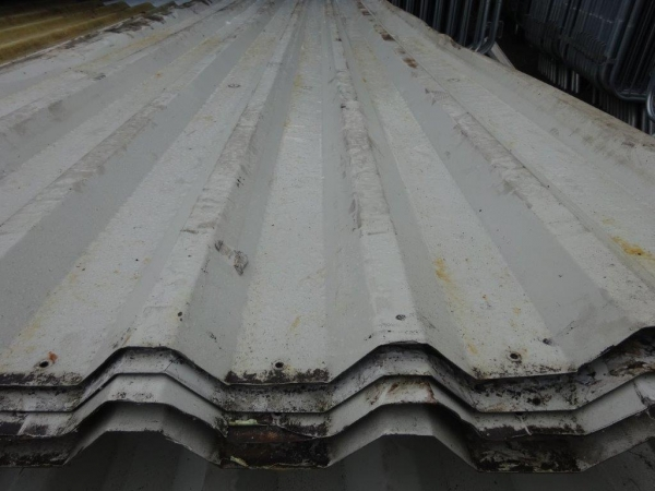 Second Hand 9.420mtr x 1.000 Mtr Cover  Pale Grey  Plastisol Coated Box Profile Roofing Sheets