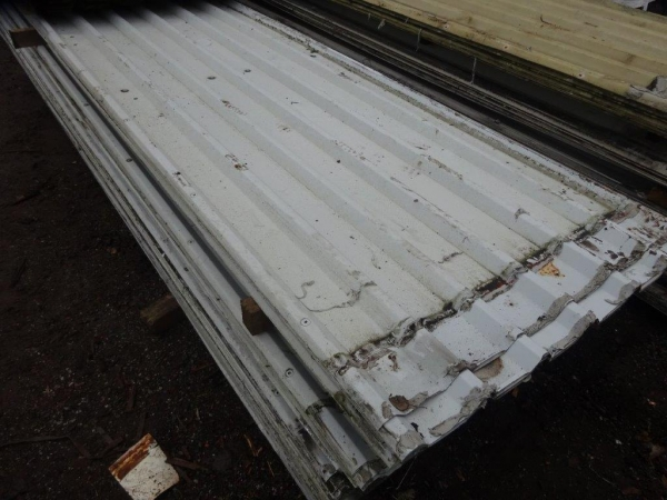 Second Hand 4.930mtr x 1.000 Mtr Cover  White / Pale Grey  Plastisol Coated Box Profile Roofing Sheets