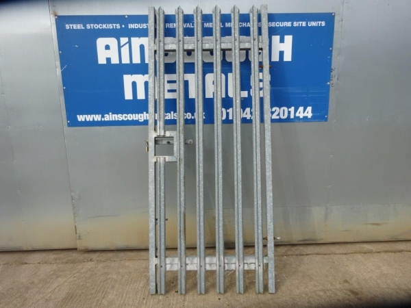 Second Hand 1.000mtr Wide  2.400mtr High Galvanised Palisade \'w\' Triple Point Top Steel Gate - Security Gate - Site Gate - Yard Gate