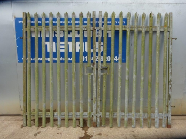 Second Hand 3.000mtr O/a Wide  2.400mtr High Galvanised Palisade \'d\' Triple Point Top Double  Steel Gate - Security Gate - Site Gate - Yard Gate