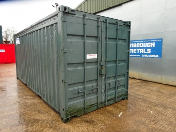 20 ft Long 8 ft Wide Green Steel Storage Container - Second Hand  - Store