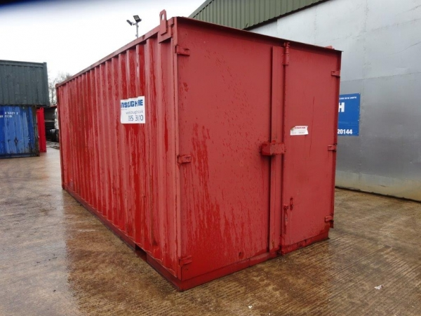 20 ft Long 8 ft Wide Red Steel Storage Container - Second Hand  - Store