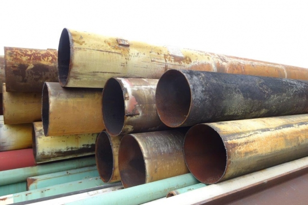 610 mm Dia x 6 mm Thickness x 5.520 Mtrs Long Used Steel Tubes / Steel Drainage Pipes / Piling Tubes