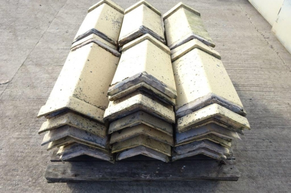 Bundle of 74no Capped Angle Roof Ridge Tiles - Used