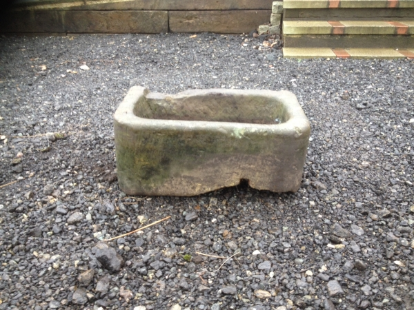 Second Hand Stone Planter - 590mm Wide 360mm Deep Weathered Stone Trough - Period Stone Trough - Reclaimed Trough