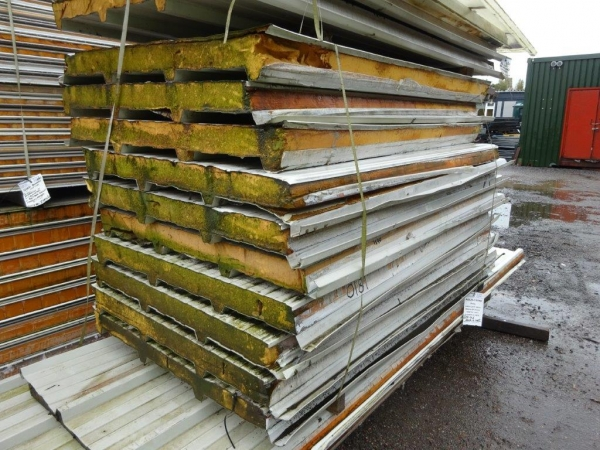 Used 1.800 / 1.840 Mtr x 1.000 Mtr Cover 80 mm Thick Light Grey  Insulated Box Profile Roofing Sheets