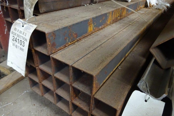 7.500/7.600 Mtr of 80 mm x 80 mm x  3 mm Steel Box Section  ( Unused Slight Stock Rusty )