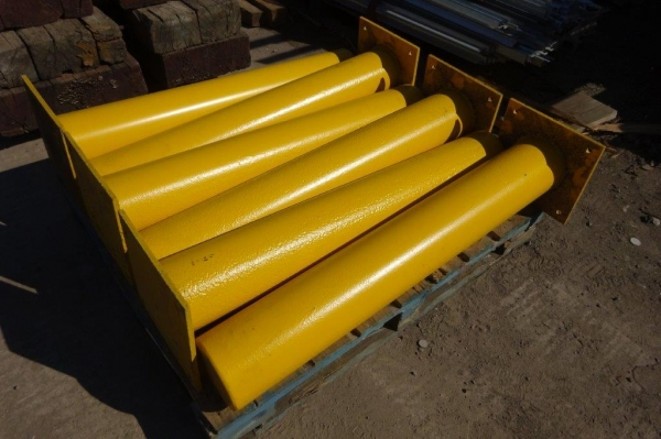 Bolt Down Bollard / Post 168.3 x 5mm Tube 1100mm High C/w Base Plate - Painted Yellow - Used