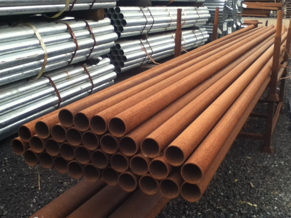 5.850mtr Lengths of 76.1mm x  3.2mm  Unused Varying Atmospheric Rust - Stock Rusty Steel Tube - Chs - Steel Pipe Drainage - Water Pipe